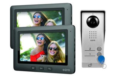 Prezentujemy 2-rodzinny wideodomofon Eura z czytnikiem